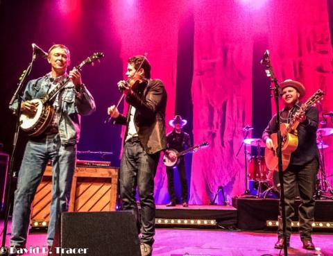 Governor Hickenlooper, Ketch Secor, Kevin Hayes, Critter Fuqua, Paramount Theater, Denver. Old Crow Medicine Show 50 Years of Blonde On Blonde